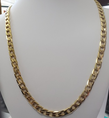 No Reserve Heavy 18k Gold / 316L Stainless Steel 8mm Curb Diamond Cut Necklace