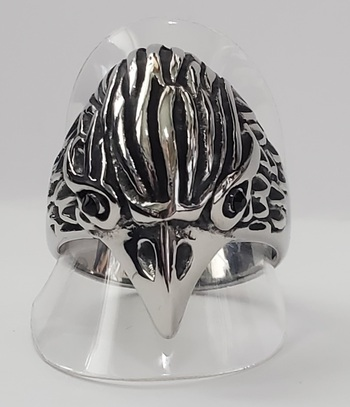 No Reserve Hawk BIrd 316L Stainless Steel Ring Size 12