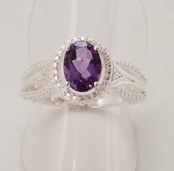 No Reserve Natural Amethyst Ring .925 Sterling Silver