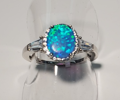 No Reserve Blue Opal & Topaz Ring .925 Sterling Silver Size 5