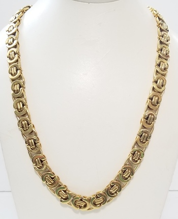 12.5mm Heavy 18k Yellow Gold Bonded 316L Stainless Steel Flat Byzantine Necklace Chain