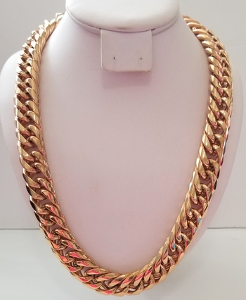 18.5mm Heavy 18k Rose Gold Bonded 316L Stainless Steel Curb Necklace Chain
