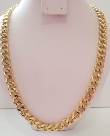 12mm Heavy 18k Yellow Gold Bonded 316L Stainless Steel Diamond Cut Curb Necklace Chain