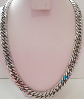 11.5mm Heavy 316L Stainless Steel Diamond Cut Curb Necklace Chain