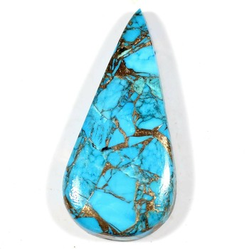 47.09 ct Natural Blue Mojave Copper Turquoise Pear Cut Loose Gemstone