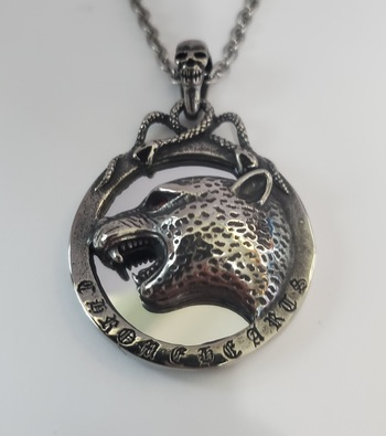 No Reserve Oxidized  316L Stainless Steel Cheeta Pendant Necklace Chain