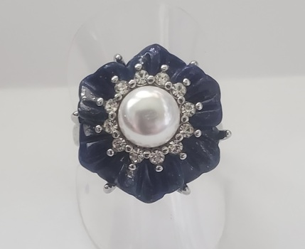 No Reserve Natural Lapis Lazuli & Pearl Flower Ring Size 9
