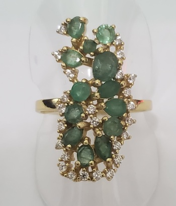 No Reserve Natural Emerald & Topaz Ring Size 8