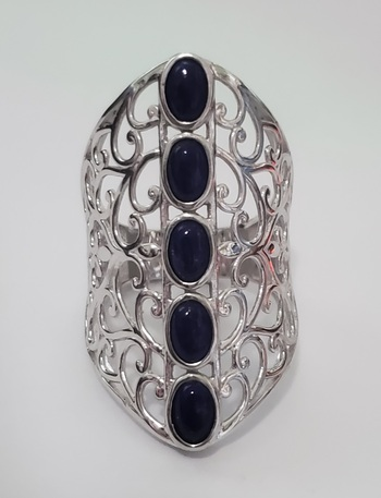 No Reserve Natural Lapis Lazuli Ring Size 9