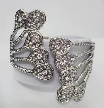 No Reserve Crystal Bypass Hinged Bangle Bracelet