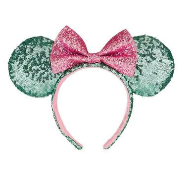 Disney Park Sugar Rush Mint Green & Pink Glitter Minnie Sequin Ears Headband new