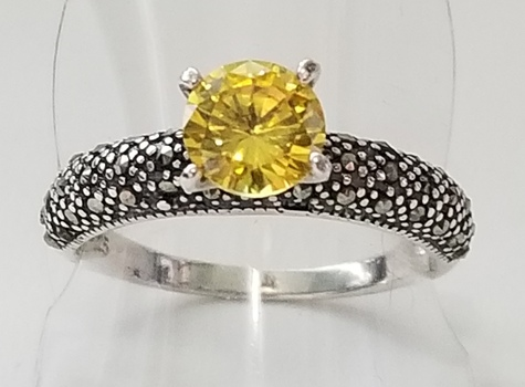 No Reserve Yellow Sapphire Marcasite Ring Size 8