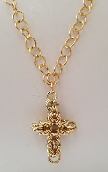 18k Yellow Gold Plated 316L Stainless Steel Cross Crucifix Pendant & Chain Necklace