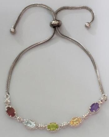No Reserve Natural Multi Gemstone Bolo Bracelet
