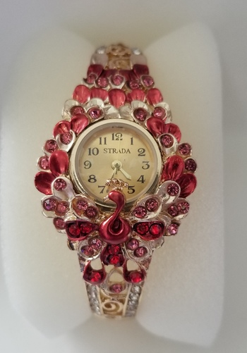 New Stainless Steel Red Crystal Peacock Hinged Bangle Watch