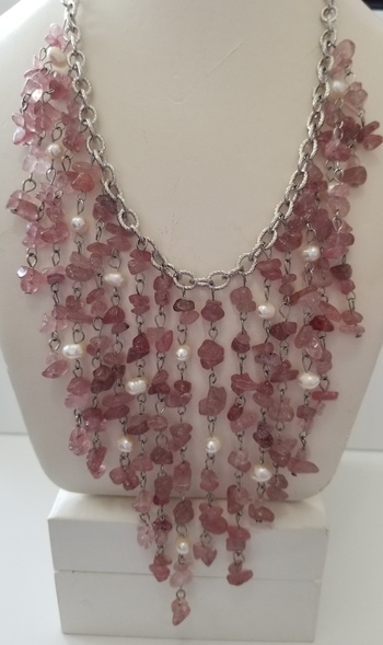 250.77 ct Natural Strawberry Quartz & Freshwater Pearl Fringe Necklace