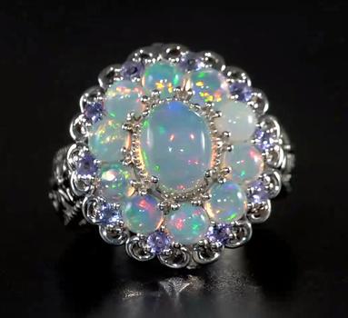 No Reserve Natural Welo Opal & Tanzanite Ring Size 7