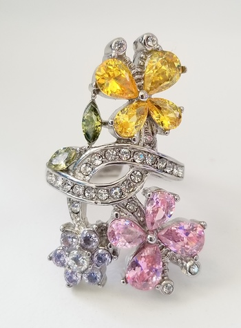 Brand New Multi Colored Crystal Flowers Ring Size 8