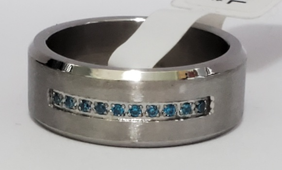 No Reserve 316L Stainless Steel Simulated Blue Diamond