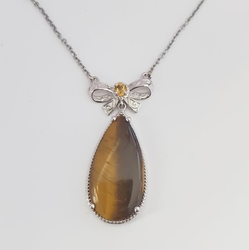 No Reserve Natural Tigers Eye & Citrine 316L Stainless Steel Necklace with Pendant