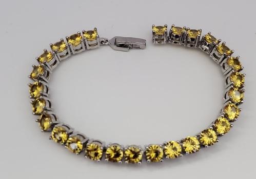 No Reserve Simulated Yellow Diamond Tennis Bracelet
