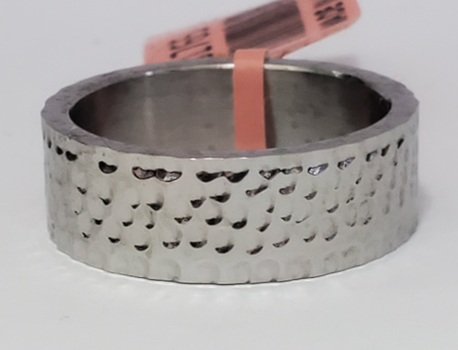 No Reserve  316L Stainless Steel Hammered Ring Size 10