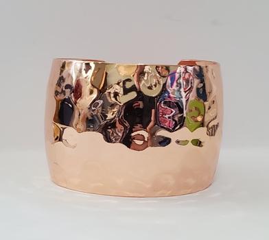 No Reserve Rose Gold Plated Hammered Cuff Bracelet
