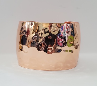 No Reserve Rose Gold Plated Hammered Cuff Bracelet