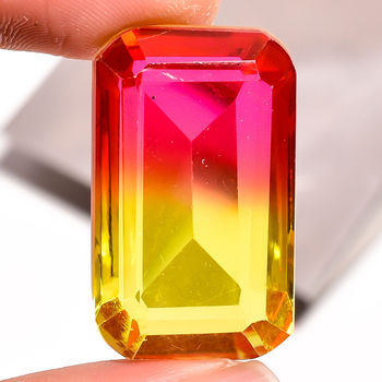 44.10 ct IF Bi Color Quartz Emerald Cut Loose Gemstone