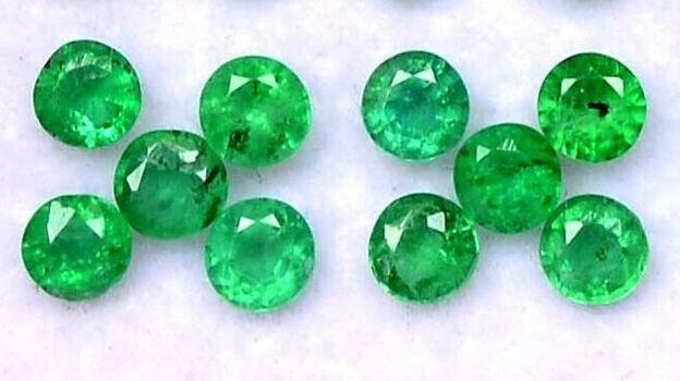 2.5 mm 10 Pieces Natural Emerald Round Loose Gemstone