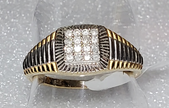 No Reserve .25 ct Natural Diamond Rolex Style Ring Size 14