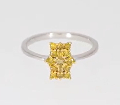 No Reserve .51 Ct Natural Yellow Diamond Ring Size  9