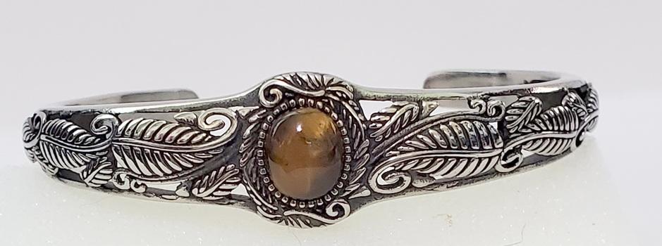 No Reserve Natural Tigers Eye Cuff Bracelet