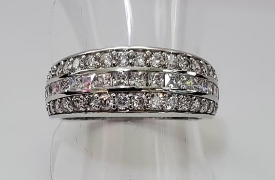 No Reserve Princess & Round Cut Simulated Diamond Band Ring Size 7
