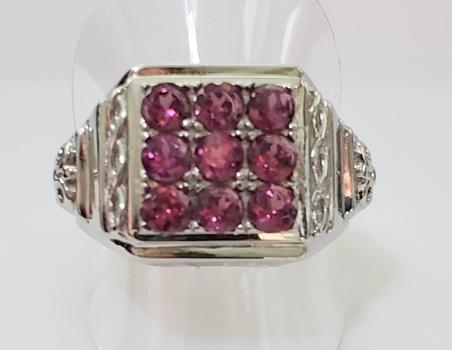 No Reserve Natural  Rhodolite Garnet Ring  Size 11