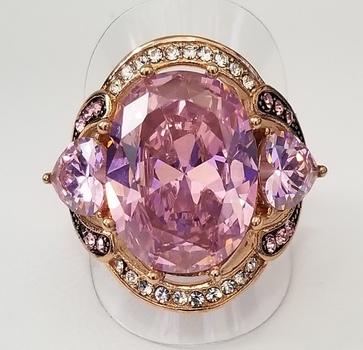 18k Rose Gold Bonded 316L Stainless Steel Pink & White Topaz Ring Size 6
