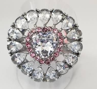 316L Stainless Steel Pink & White Topaz Heart Ring Size 7