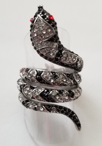 316L Stainless Steel Ruby, Black & White Topaz Snake Serpent Ring Size 6
