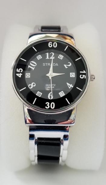 New Austrian Crystal Black & SIlver Cuff Watch