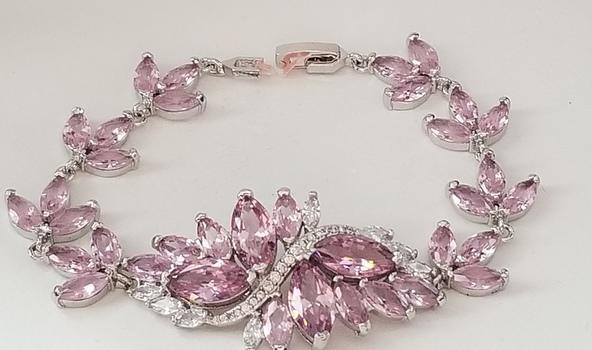 Pink & White Topaz Statement Tennis Bracelet