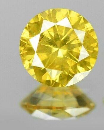 .14 ct Natural Yellow Diamond Round Cut Loose Gemstone