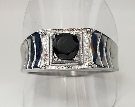 Brand New Natural Black Spinel 316L Stainless Steel Ring Size 12