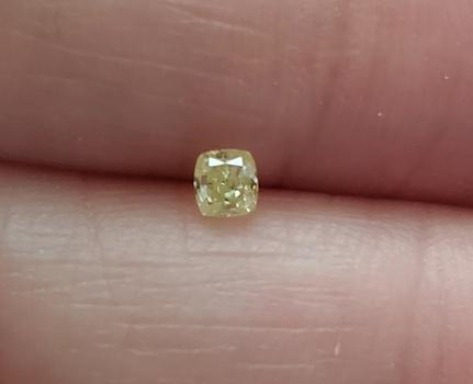 No Reserve .162 ct Natural  Yellow  Diamond Cushion Cut Loose Gemston