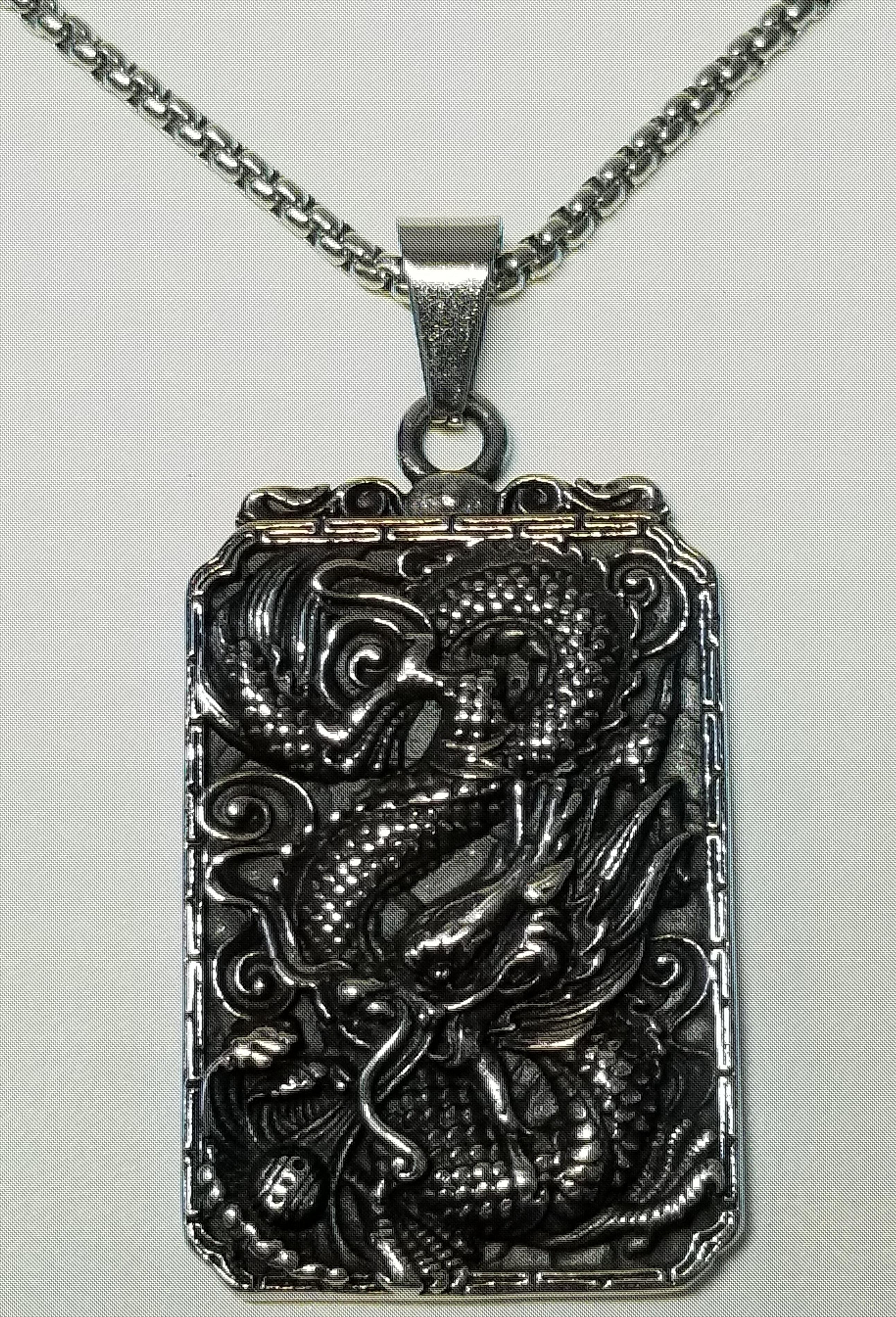 Silver Oxidized Snake Dragon Reversable Chinese Symbols Pendant