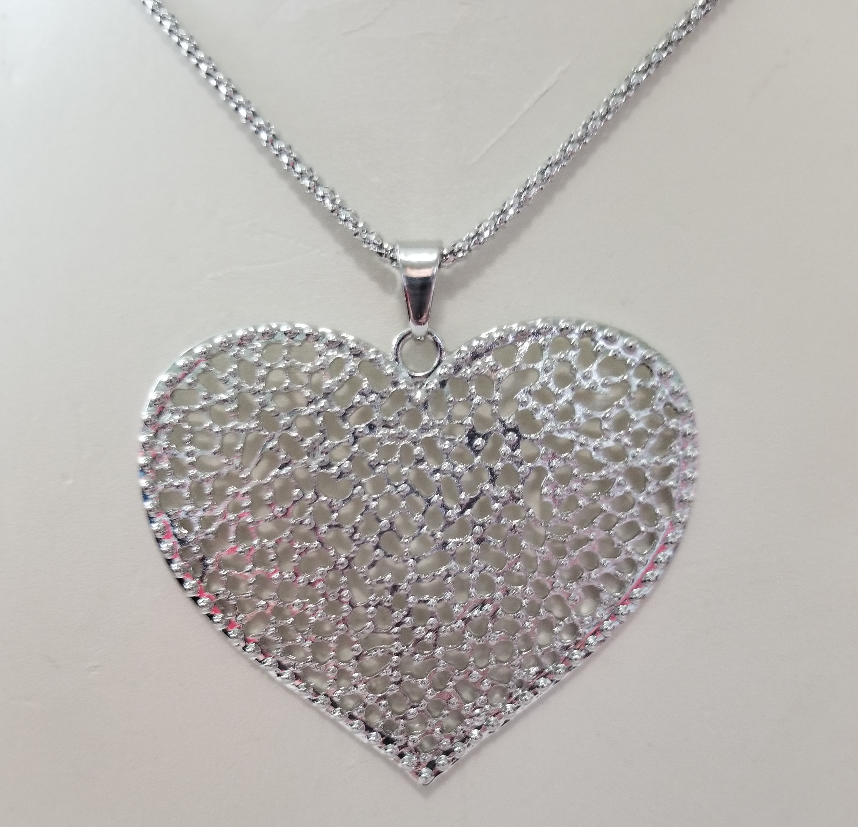 Big filigree heart pendant chain necklace 30 property room big filigree heart pendant chain necklace 30 aloadofball Image collections