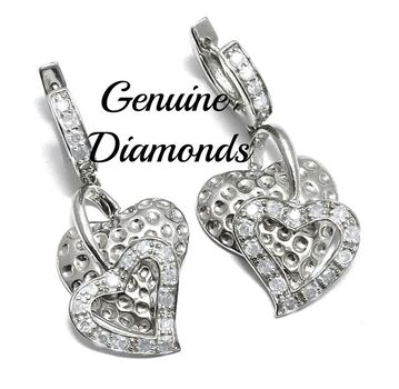 0.75ctw Genuine Diamond   .925 Sterling Silver Earrings