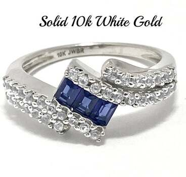 10k Real White Gold, 1.00ctw Blue & White Sapphire Ring Size 7