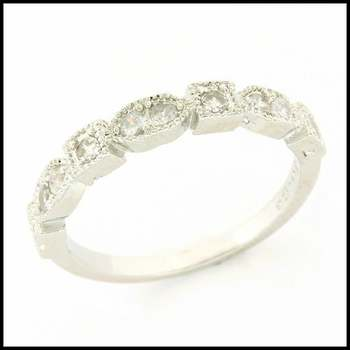14k White Gold Overlay, 0.30ctw White Sapphire Ring Size 6.5