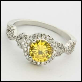 14k White Gold Overlay, 1.25ctw Yellow & White Sapphire Ring Size 6