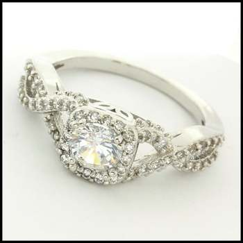 14k White Gold Overlay, 1.26ctw (AAA Grade) CZ's Ring Size 8